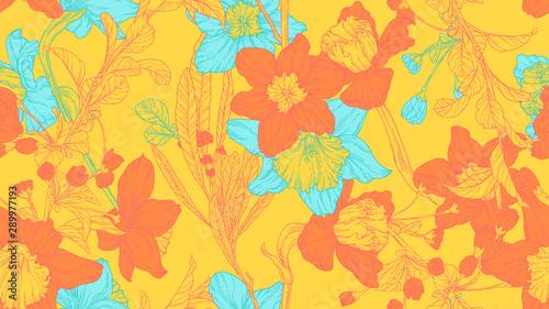 Obraz na płótnie Floral seamless pattern, daffodil, sakura and leaves in orange and blue line art