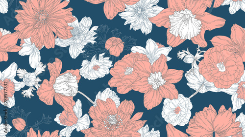 Floral seamless pattern, daffodil, camellia and anemone flowers with leaves in light red and white line art ink drawing on dark blue