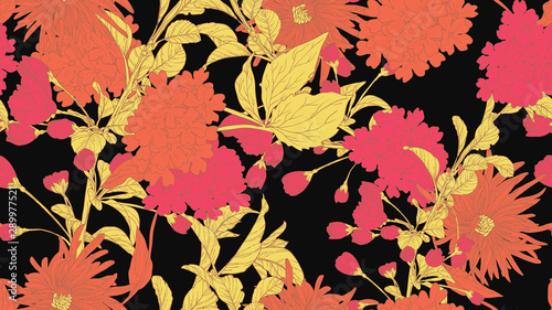 Floral seamless pattern, daffodil, sakura, hydrangea and chrysanthemum morifolium flowers in orange, pink and yellow line art ink drawing on dark grey