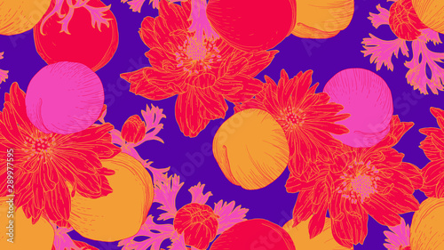 Floral seamless pattern, daffodil, anemone flowers and peach in red, yellow and pink line art ink drawing on purple