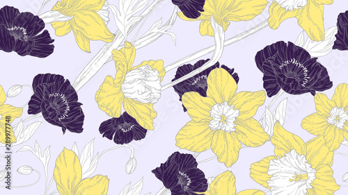 Floral seamless pattern, daffodil, daffodil and poppy flowers in yellow and purple line art ink drawing on light grey