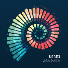 Big data visualization. Abstract background with spiral array and binary code. Connection structure. Data array visual concept. Big data connection complex.