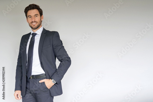 Businessman standing on white background Slika na platnu