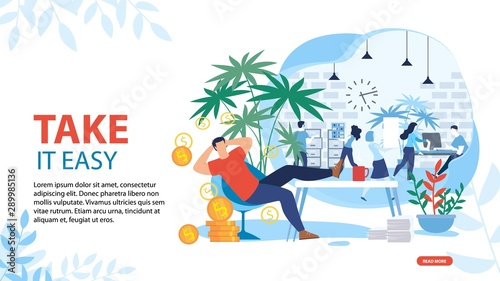 Valokuva  Take it Easy and Relax Motivating Landing Page