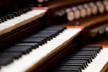 Church Organ Keyboard In Dark ...