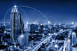 canvas print picture - Network Telecommunication and Communication Connect Concept, Connection 5G Networking System of Infrastructure and Cityscape at Night Scenery. Technology Digital Connectivity and Information Transfer