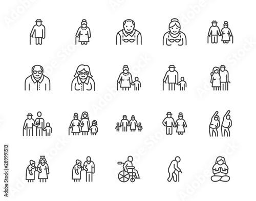 Stampa su Tela Elder people care flat line icons set