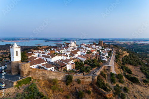 Aerial view of the beutiful historical village of Monsaraz, in Alentejo, Portuga Wallpaper Mural