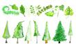 Leinwandbild Motiv Bäume und Blätter in Aquarell