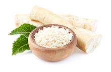 Horseradish Root And Grated Horseradish In Wooden Plate On White Background