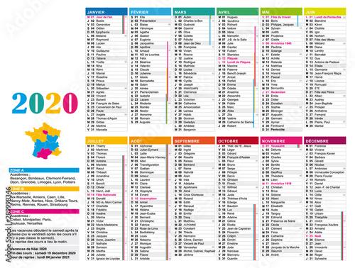 Calendrier 2020 Multicolore En Français Avec Jours Fériés