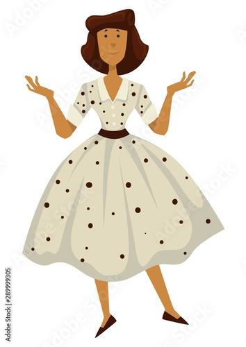 Woman in polkadot dress, 1950s fashion style Wallpaper Mural
