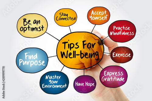 Fototapeta Tips for wellbeing mind map flowchart with marker, education business concept for presentations and reports obraz