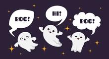 Cute Happy Ghosts. Flat Ghost ...