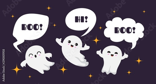 Cute happy ghosts Canvas Print