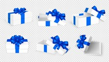 Gift Boxes. White Open Present Empty Box With Blue Bow And Ribbons. Christmas Birthday Valentine Day Vector Template. Collection Of Gift Box To Holiday With Blue Ribbon
