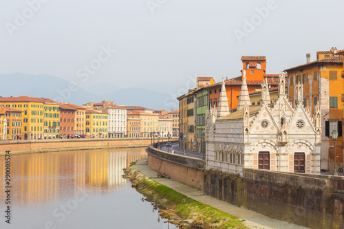 Pisa. The Arno river. Santa Maria della Spina. Canvas Print