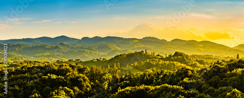 Poster Orange Panoramic view from vineyard to green hills of south styrian wine route in Austria in sunset. Glanz an der Weinstrasse.