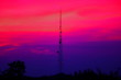 canvas print picture - the telecommunication pole with twilight sky background