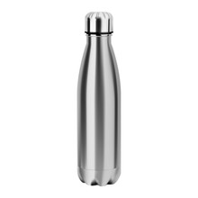Metal Water Bottle. Reusable Stainless Steel Eco Flask Mockup. Empty Aluminum Thermo Tin For Camping And Sport Bicycle. Realistic Glossy 3d Vessel Template For Branding And Promotion. Fitness Tube