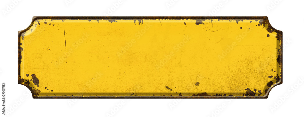Fototapety, obrazy: Empty vintage tin sign on a white background