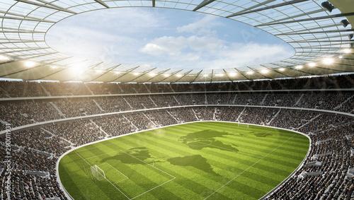 Fototapeta Stadion mit Weltkarte