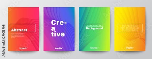 Set of minimal abstract curved wave shape on vivid gradient colors background fo Slika na platnu