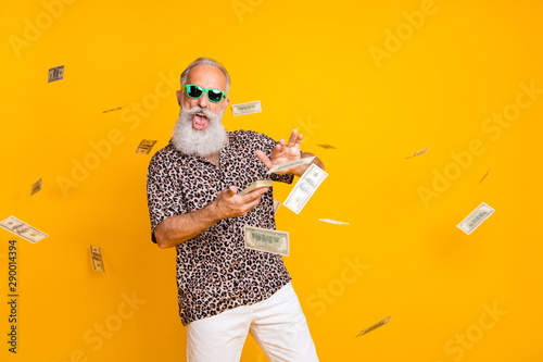 Fototapeta Portrait of crazy funny funky old long bearded man millionaire in eyewear eyeglasses waste money throw banknotes wear leopard shirt shorts isolated over yellow background obraz
