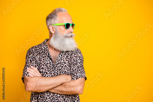 Cuadros en Lienzo Profile side photo of modern funny funky old long bearded man traveling look for