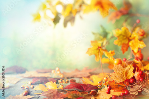 Cadres-photo bureau Orange Thanksgiving or autumn scene with leaves and berries on wooden table. Autumn background with falling leaves.