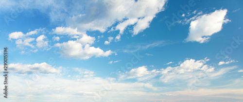 Blue sky clouds background. Beautiful landscape with clouds on sky - 290015596