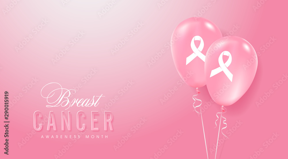 Fototapety, obrazy: Breast cancer october awareness month pink balloons banner background,vector illustration