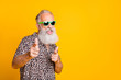 canvas print picture - Portrait of funky old bearded man in eyeglasses eyewear feel cool crazy point at you wearing leopard shirt isolated over yellow background