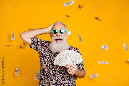 Fototapeta Portrait of retired old funny bearded man in eyewear eyeglasses scream omg look at falling money win lottery wearing leopard t-shirt isolated over yellow background obraz