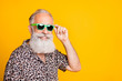 canvas print picture - Close up photo of old man having fun funky funny rest under sun while isolated with yellow background