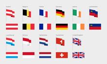 The Countries Of Western Europe According To The UN Classification. Set Of Flags. Austria, Belgium, United Kingdom, Germany, Ireland, Liechtenstein, Luxembourg, Monaco, Netherlands, France, Switzerlan