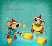 Fantasy Holiday Greeting Card Or Poster For Christmas Or New Year With A Mouse Playing Curling With Cheese.