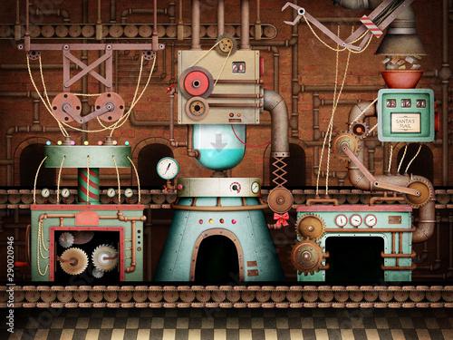 Konceptualna rocznik ilustracja lub plakat z starą zabawkarską fabryką dla powitanie wakacyjnych bożych narodzeń lub nowego roku