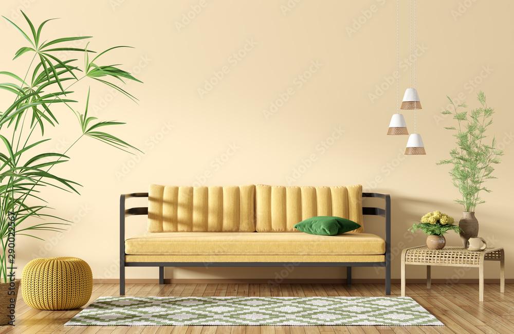 Fototapeta Interior of modern living room with yellow sofa 3d rendering