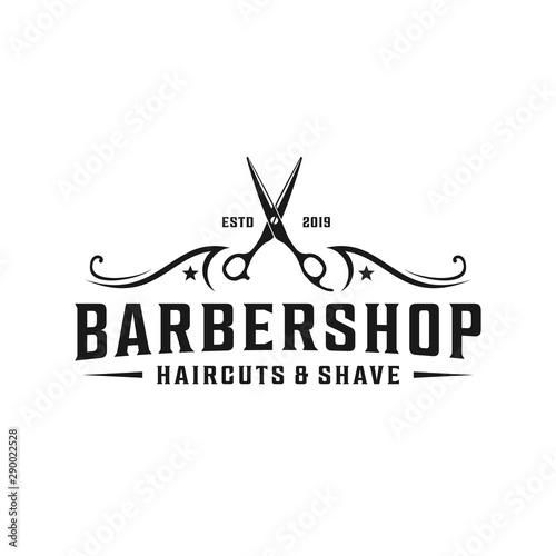 Barbershop simple minimalist logo design with elegant ornament