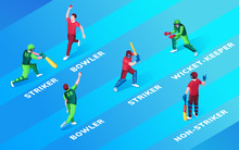 Set Of Isolated Man At Cricket Fielding Positions Name. Bowler And Striker, Wicket-keeper And Non-striker. Cricketer Batsman And Fielder, Batter Practise With Ball And Bat. Sport And Game Theme