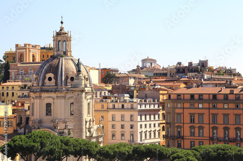 Rome, skyline of the ancient city with Trajan's column Canvas Print