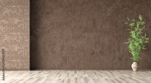 Obraz Interior background of room with brown stucco wall and vase with branch 3d rendering - fototapety do salonu