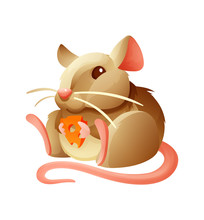 Cute Mouse Sitting With A Piece Of Cheese