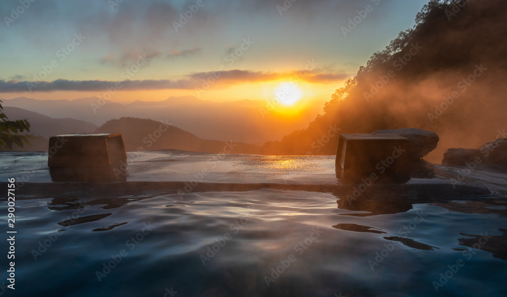 Fototapety, obrazy: Sunrise in the Japanese hot spring, Yari Onsen, Hakuba, Japan