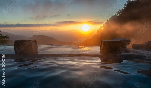 Foto auf AluDibond Dunkelbraun Sunrise in the Japanese hot spring, Yari Onsen, Hakuba, Japan