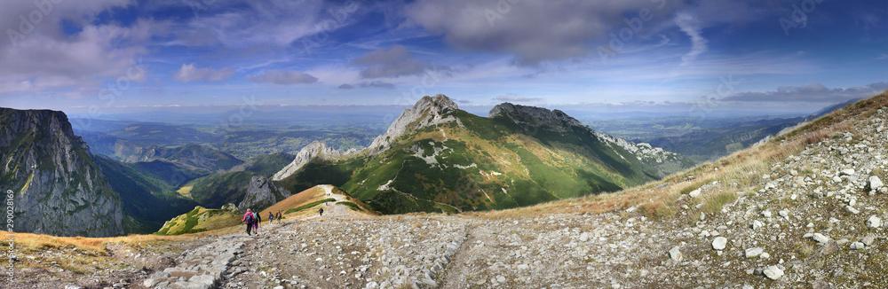 Fototapety, obrazy: Panorama - Tatry Zachodnie - widok na Giewont, Wielką Turnię, Dolinę Małej Łaki i Przełęcz Kondratową z okolicy Kopy Kondrackiej