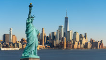 The Statue Of Liberty Over Scene Of New York Cityscape River Side Which Location Is Lower Manhattan Which Can See One World Trade Conter, United State Of America, USA, Taking From New Jersey Skyline