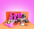 canvas print picture - Cash back concept background big letters on tematic podium 3d render image on color gradient