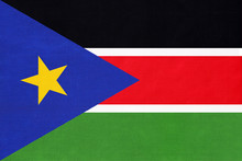 South Sudan National Fabric Flag Textile Background. Symbol Of International World African Country.